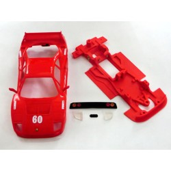 Chasis F40 Block AW con accesorios compatible con Scalextric